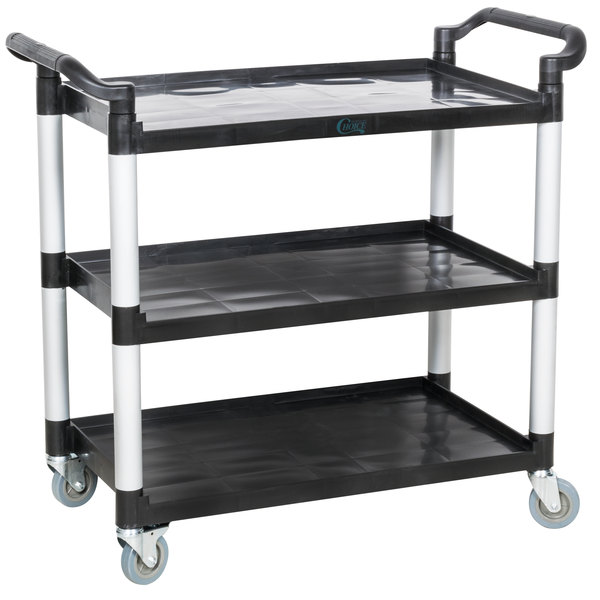 Choice Black Utility / Bussing Cart with Three Shelves - 42\