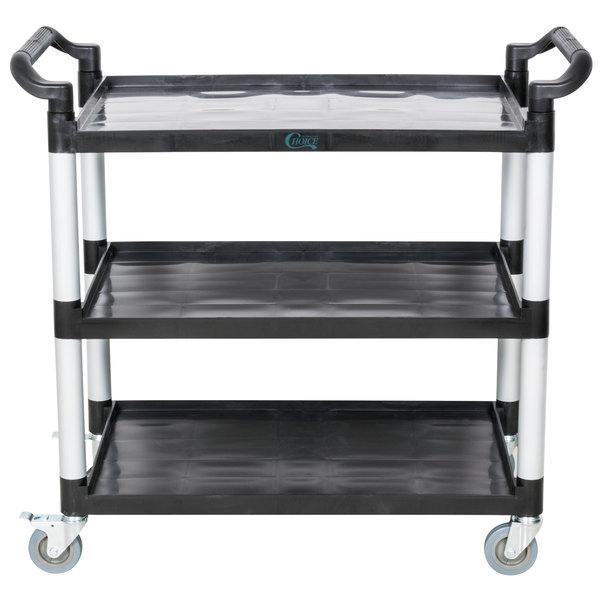 Choice 42 inch x 20 inch x 38 inch Black 3 Shelf Utility / Bussing Cart