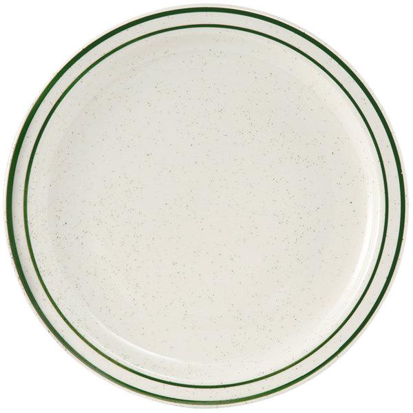 "Tuxton TES-008 Emerald 9"" Green Speckle Narrow Rim China Plate - 24/Case"