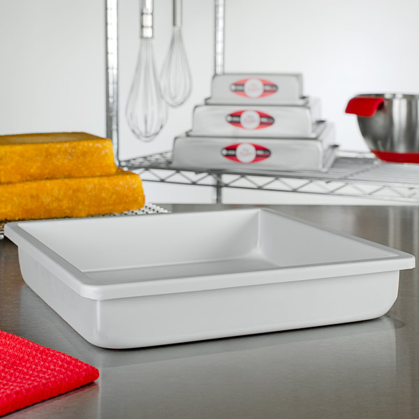 """Fat Daddio's PSQ-10102 ProSeries 10"""" x 10"""" x 2"""" Square Anodized Aluminum Straight Sided Cake Pan Main Image 2"""