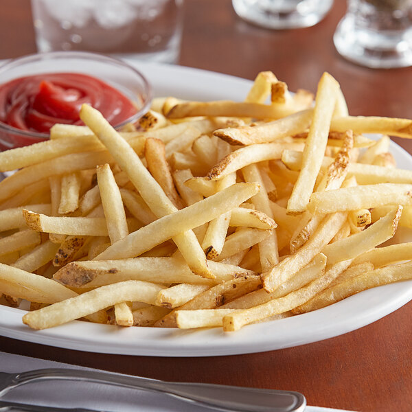 """Lamb Weston Private Reserve 4.5 lb. 1/4"""" Skin-On Shoestring Fries - 6/Case Main Image 2"""