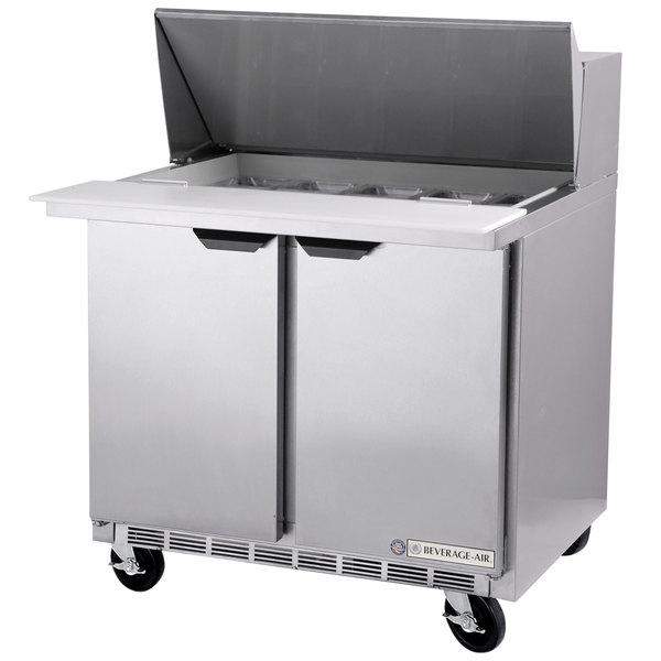 """Beverage-Air SPE36HC-15M Elite Series 36"""" 2 Door Mega Top Refrigerated Sandwich Prep Table"""