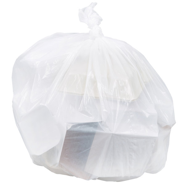 "Berry AEP 333920W 33 Gallon 0.8 Mil White 33"" x 39"" Low Density Can Liner / Trash Bag - 150/Case"
