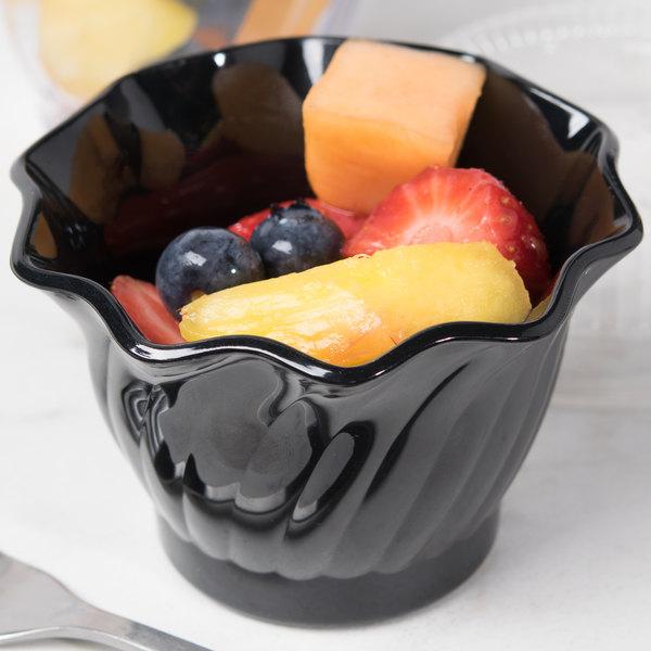 Cambro SRB5CW110 Camwear 5 oz. Black Customizable Polycarbonate Swirl Bowl - 24/Case