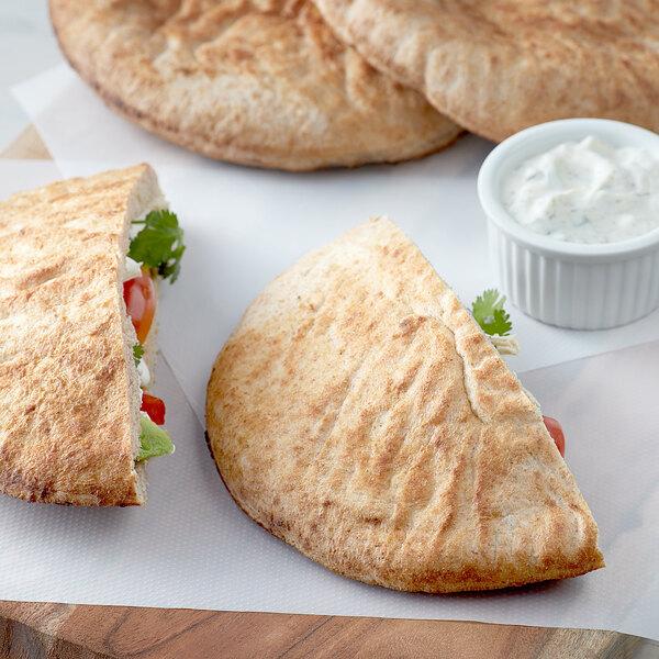 "Father Sam's Bakery 8"" Large Wheat Pita Pocket Bread - 24/Case Main Image 2"