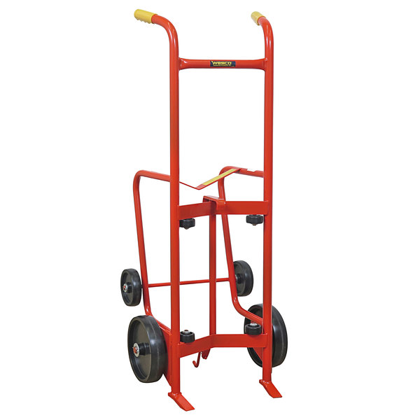 """Wesco Industrial Products 240006 Standard Series 1000 lb. 4 Wheel Steel Drum Truck with (2) 10"""" and (2) 6"""" Polyolefin Wheels Main Image 1"""