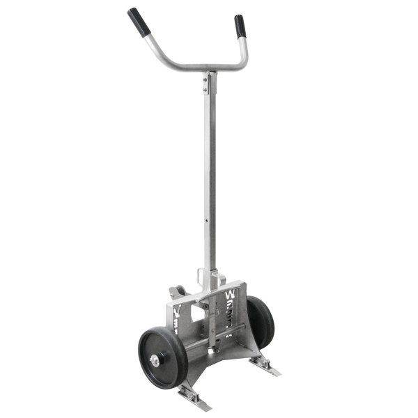 """Wesco Industrial Products 240019 Stainless Steel 1000 lb. Steel Drum Truck with (2) 10"""" Polyolefin Wheels - Knocked Down Main Image 1"""