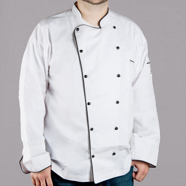 Chef Revival Brigade J044 Unisex Customizable Executive Long Sleeve Chef Coat with Black Piping - 3X Main Image 1