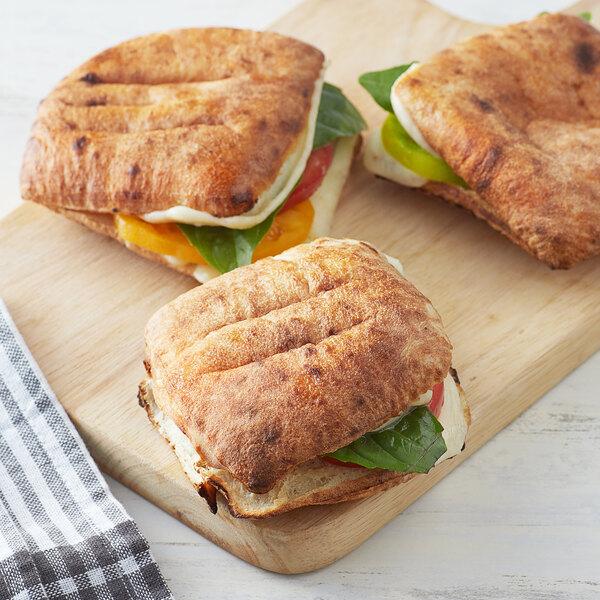 """Father Sam's Bakery 3 1/2"""" x 3 1/2"""" Square White Pita Sandwich Bread - 96/Case Main Image 2"""