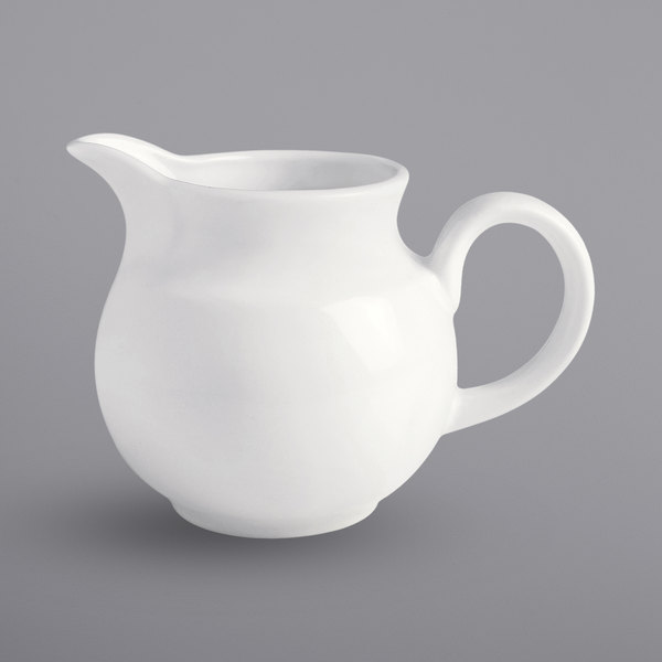 Corona by GET Enterprises PA1101908512 Actualite 8.8 oz. Bright White Small Stackable Porcelain Jug / Gravy Boat - 12/Case Main Image 1