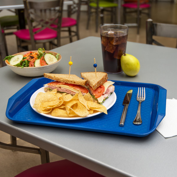 "Carlisle CT121714 Customizable Cafe 12"" x 17"" Blue Handled Plastic Fast Food Tray - 12/Case"