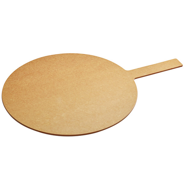 "Tomlinson 1022127 18"" Natural Richlite Wood Fiber Round Pizza Peel with 8"" Handle"