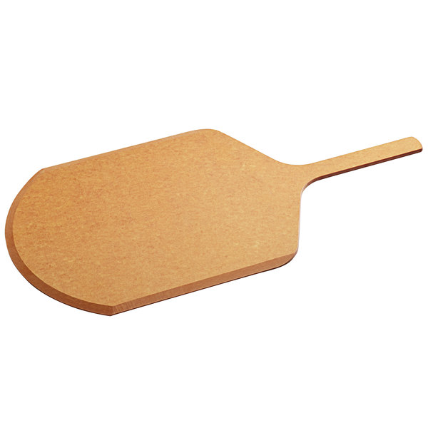 "Tomlinson 1022390 14"" x 25"" Natural Richlite Wood Fiber Pizza Peel with 9"" Handle"