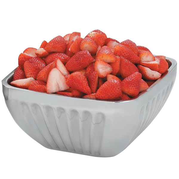 Vollrath 47682 Fluted Double Wall Square 3.2 Qt. Serving Bowl