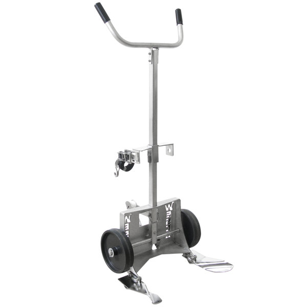 """Wesco Industrial Products 240020 Stainless Steel 1000 lb. Poly Drum Truck with (2) 10"""" Polyolefin Wheels - Knocked Down Main Image 1"""