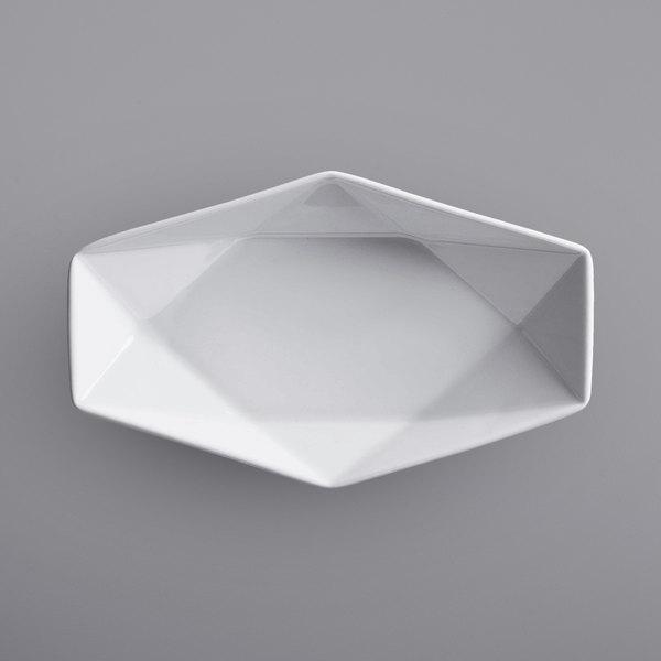 "Corona by GET Enterprises PA1101610324 Actualite 6"" x 3 1/4"" Bright White Porcelain Hexagonal Plate - 24/Case Main Image 1"