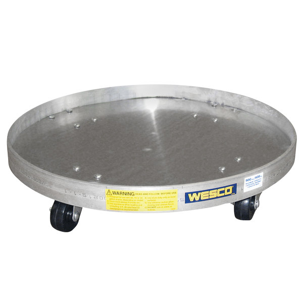 """Wesco Industrial Products 240043 24"""" Aluminum Dolly with Solid Base and 3"""" Rubber Casters for 35 and 55 Gallon Steel Drums Main Image 1"""