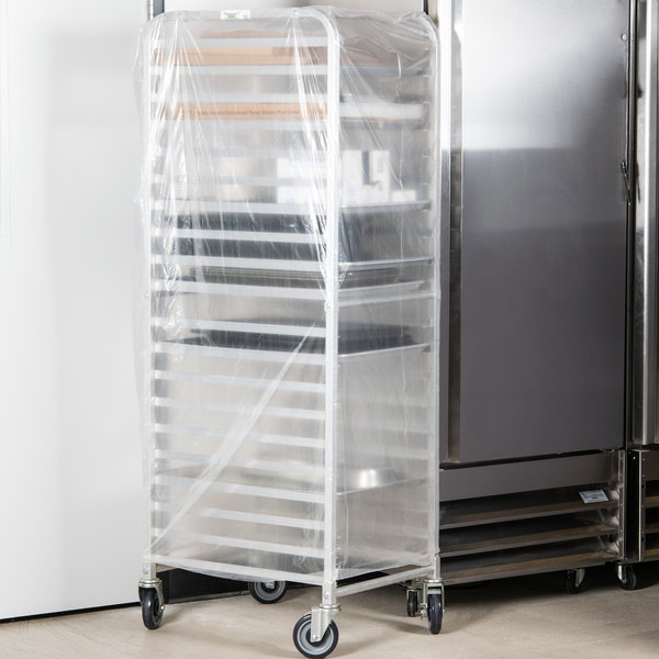"22"" x 31"" x 72"" Disposable .75 Mil Bun Pan Rack Cover - 100/Roll"