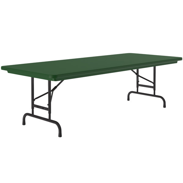 "Correll Adjustable Height Folding Table, 30"" x 60"" Plastic, Green - Standard Legs - R-Series RA3060 Main Image 1"