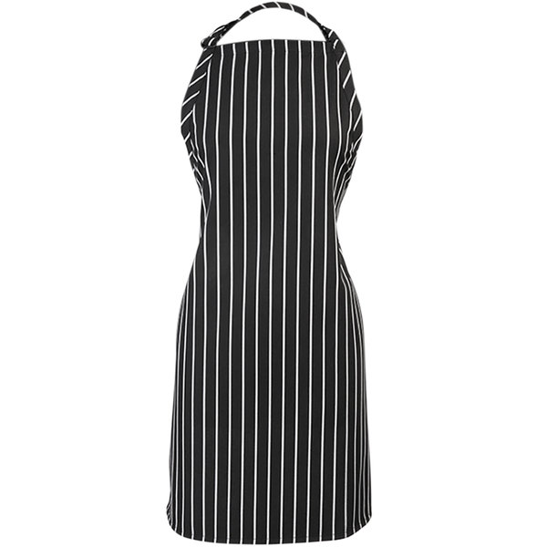 "Mercer Culinary M61120BCS Genesis® Chalk Stripe Customizable Poly-Cotton Bib Apron with Adjustable Neck - 33""L x 23""W Main Image 1"