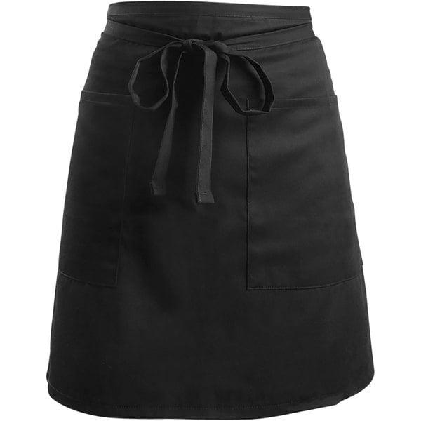 "Mercer Culinary M61129BK Genesis® Black Customizable Poly-Cotton Short Bistro Apron - 29""L x 19""W Main Image 1"