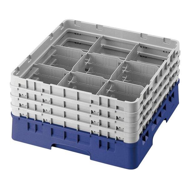 "Cambro 9S434168 Blue Camrack Customizable 9 Compartment 5 1/4"" Glass Rack"