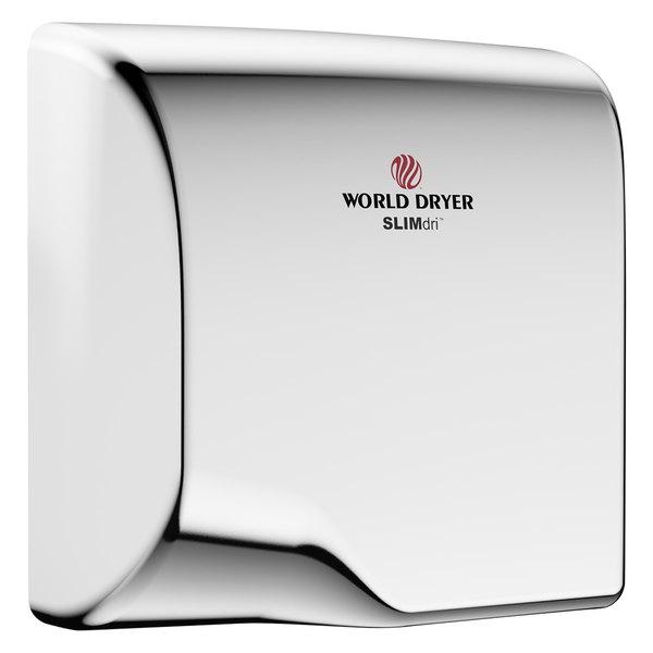 World Dryer L-972A SLIMdri Polished Stainless Steel Surface-Mounted ADA Hand Dryer - 110-120V/208V/220-240V, 950W Main Image 1