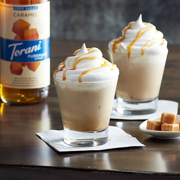 Torani 750 mL Puremade Zero Sugar Caramel Flavoring Syrup