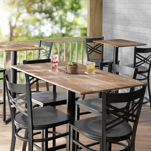 "Lancaster Table & Seating Excalibur 28"" x 48"" Rectangular Table Top with Textured Yukon Oak Finish Main Image 3"