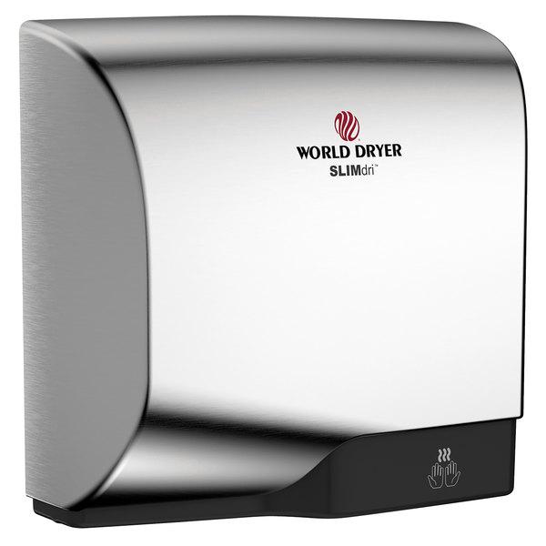World Dryer L-971A SLIMdri Brushed Chrome Aluminum Surface-Mounted ADA Hand Dryer - 110-120V/208V/220-240V, 950W Main Image 1