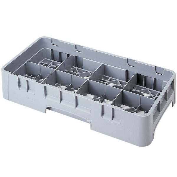 """Cambro 8HS318151 Soft Gray Camrack Customizable 8 Compartment 3 5/8"""" Half Size Glass Rack"""