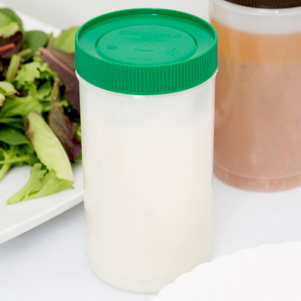 Carlisle PS602N09 Store 'N Pour 1 Qt. White Container with Green Cap
