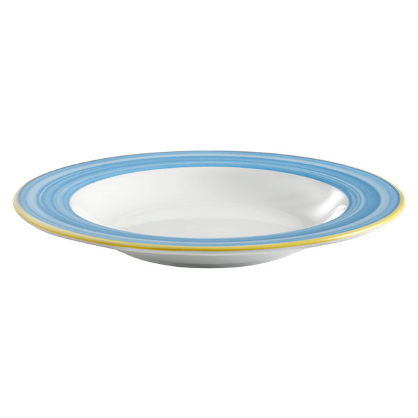 Corona by GET Enterprises PA1601903912 Calypso 18.8 oz. Bright White Porcelain Bowl with Blue and Yellow Rim  - 12/Case