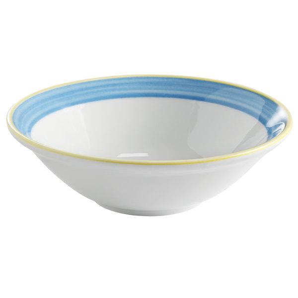 Corona by GET Enterprises PA1601903224 Calypso 15.5 oz. Bright White Porcelain Bowl with Blue and Yellow Rim  - 24/Case