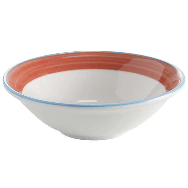 Corona by GET Enterprises PA1602903224 Calypso 15.5 oz. Bright White Porcelain Bowl with Coral and Blue Rim  - 24/Case