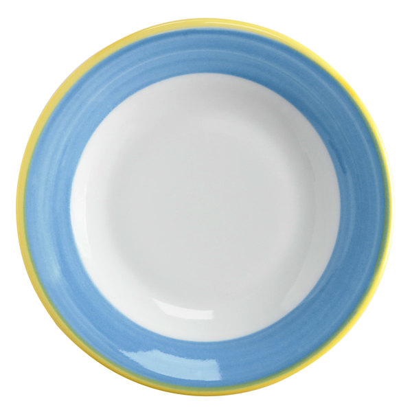 Corona by GET Enterprises PA1601901424 Calypso 6 1/2 inch Bright White Porcelain Rolled Edge Plate with Blue and Yellow Rim  - 24/Case