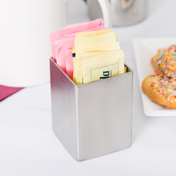 """Tablecraft 1156 2"""" x 2"""" Square Stainless Steel Sugar Caddy"""