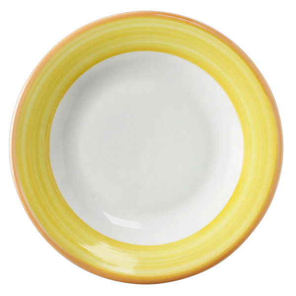 Corona by GET Enterprises PA1600901524 Calypso 7 1/4 inch Bright White Porcelain Rolled Edge Plate with Yellow and Coral Rim - 24/Case