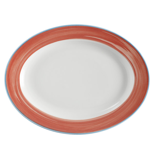 Corona by GET Enterprises PA1602907612 Calypso 10 inch x 7 1/2 inch Bright White Rolled Edge Porcelain Oval Platter with Coral and Blue Rim  - 12/Case
