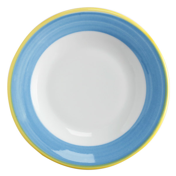 Corona by GET Enterprises PA1601901524 Calypso 7 1/4 inch Bright White Porcelain Rolled Edge Plate with Blue and Yellow Rim  - 24/Case