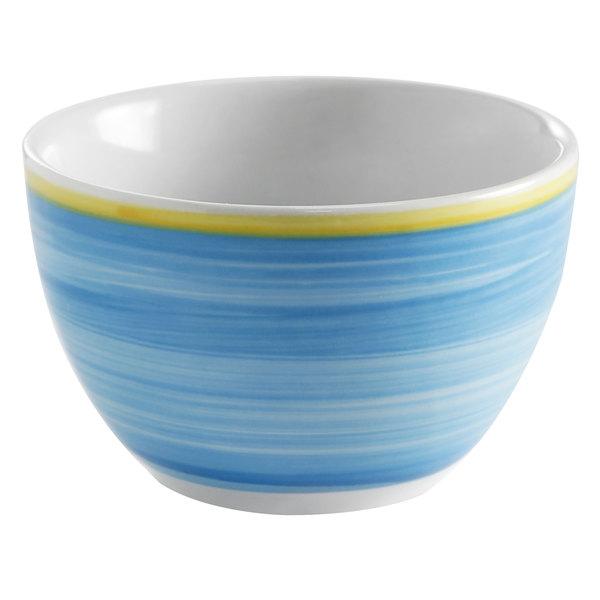 Corona by GET Enterprises PA1601904524 Calypso 8.8 oz. Blue Porcelain Bouillon Cup with Yellow Rim  - 24/Case