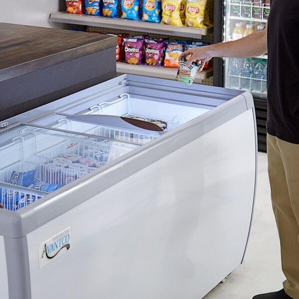 "Avantco DFF20-HCL 71"" Flat Top Display Ice Cream Freezer Main Image 5"