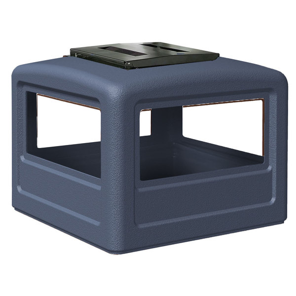 Commercial Zone 732347 PolyTec 42 Gallon Dark Blue Dome Trash Can Lid with Ashtray