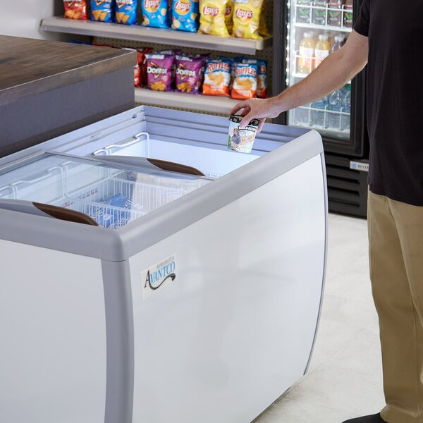 "Avantco DFF13-HCL 49 3/4"" Flat Top Display Ice Cream Freezer Main Image 7"
