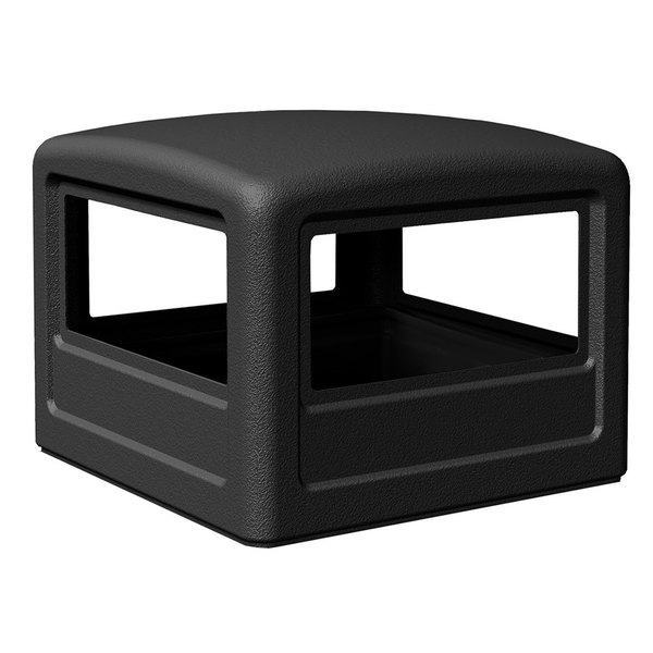 Commercial Zone 732201 PolyTec 42 Gallon Square Black Dome Trash Can Lid Main Image 1