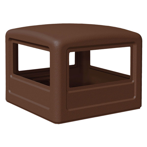 Commercial Zone 732237 PolyTec 42 Gallon Square Brown Dome Trash Can Lid Main Image 1