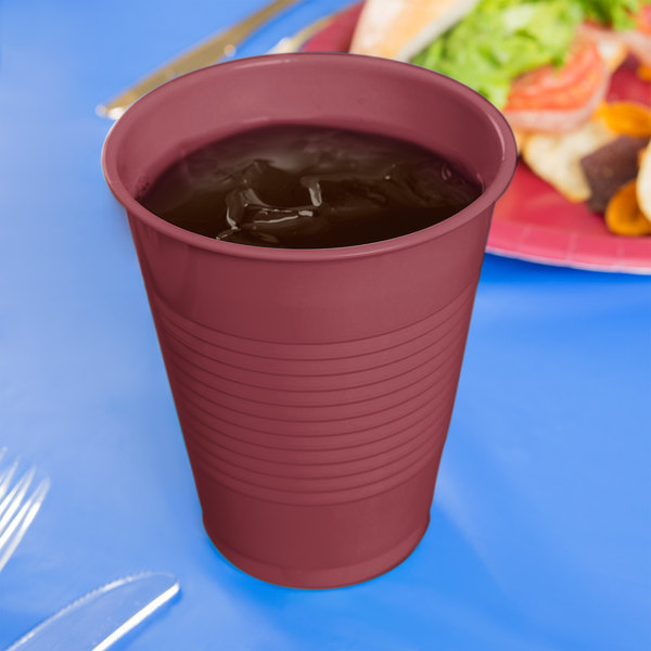 Creative Converting 28312281 16 oz. Burgundy Plastic Cup - 240/Case