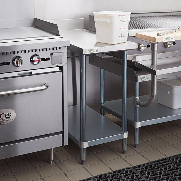 "Regency 36"" x 18"" 18-Gauge 304 Stainless Steel Equipment Filler Table with Backsplash and Galvanized Undershelf Main Image 4"