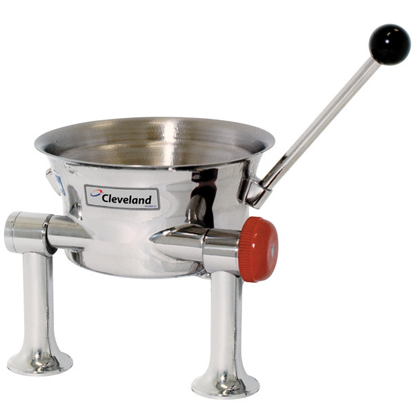 Right Handle Cleveland KDT-1-T 80 oz. Tilting 2/3 Steam Jacketed Direct Steam Tabletop Oyster Kettle
