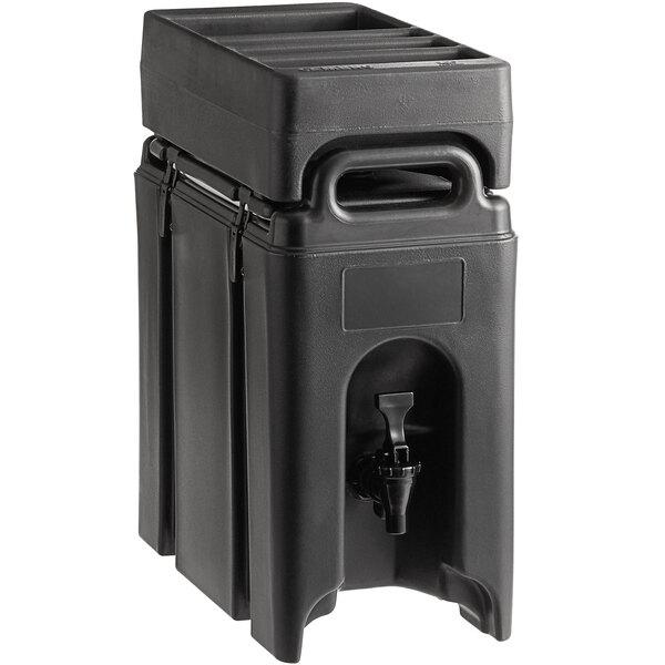 Cambro Camtainer 2.5 Gallon Black Insulated Beverage Dispenser with Black 4-Compartment Condiment Holder Main Image 1